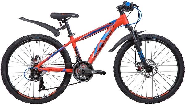 """133998 2 - Велосипед NOVATRACK 24"""" EXTREME 21,D alloy, алюм,рама 13"""" оранжевый, 21-скор, TY300/TS38/TZ500, диск,торм,STG, рама - 13"""""""