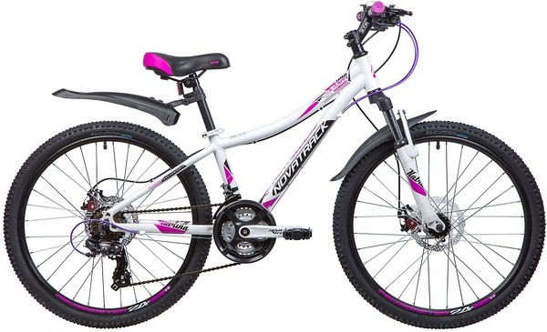 """134002 2 - Велосипед NOVATRACK 24"""" KATRINA 21,D, алюм,рама 12"""" белый, 21-скор, TY300/TS38/TZ21, диск,тор,STG, рама - 12"""""""