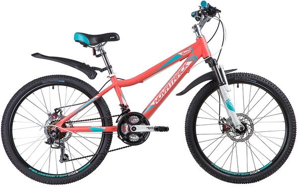 "134031 2 - Велосипед NOVATRACK 24"" NOVARA 18,D, алюм,рама 13"", коралловый, 18-скор, TY21/TS38/SG-6SI, диск,торм,STG, рама - 13"""
