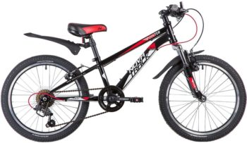 "134088 2 350x203 - Велосипед NOVATRACK 20"" POINTER 6,V, чёрный, сталь, 6-скор, Microshift TS38/Shimano, V-brake, рама - 10"""