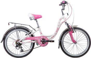 """134096 2 350x225 - Велосипед NOVATRACK 20"""", BUTTERFLY, белый-розовый, алюминиевая рам,6-скор, TY21/RS35/SG-6SI, V-brake, рама - 11"""""""