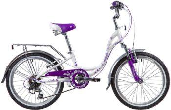 "134097 2 350x225 - Велосипед NOVATRACK 20"", BUTTERFLY, белый-фиолет,, алюминиевая рам 6-скор, TY21/RS35/SG-6SI, V-brake, рама - 11"""
