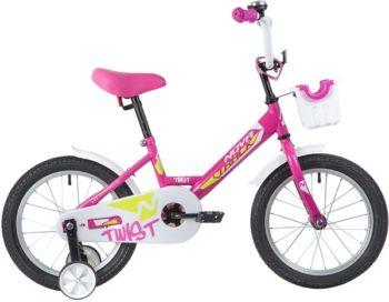 """139646 2 350x272 - Велосипед NOVATRACK 16"""" TWIST розовый, тормоз нож, крылья корот, полная защ,цепи, корзина, рама - 10,5"""""""