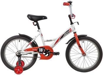 "139683 2 350x256 - Велосипед NOVATRACK 18"" STRIKE белый-красный, тормоз нож, крылья корот, защита А-тип, рама - 11,5"""