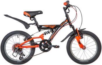 "139720 2 350x224 - Велосипед NOVATRACK 16"" DART 5,V, 5 скор,, черный, Microshift, алюм,обода, амортизатор зад/перед, рама - 11"""