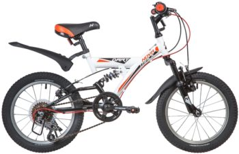 "139721 2 350x226 - Велосипед NOVATRACK 16"" DART 5,V, 5 скор,, белый, Microshift, алюм,обода, амортизатор зад/перед, рама - 11"""