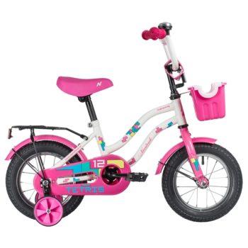 """140625 2 350x350 - Велосипед NOVATRACK 12"""" TETRIS белый,тормоз нож,,крылья цвет,,багажник чёрный,, перед,корзина, полна, рама - 8,5"""""""
