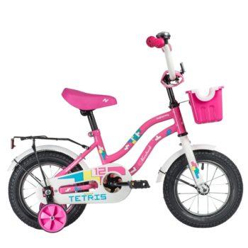 """140626 2 350x350 - Велосипед NOVATRACK 12"""" TETRIS розовый,тормоз нож,,крылья цвет,,багажник чёрный,, перед,корзина, пол, рама - 8,5"""""""