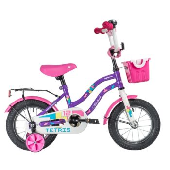 """140627 2 350x350 - Велосипед NOVATRACK 12"""" TETRIS фиолетовый,тормоз нож,,крылья цвет,,багажник чёрный,, перед,корзина, , рама - 8,5"""""""