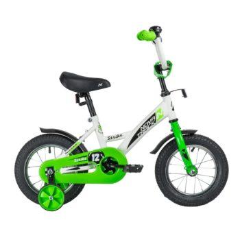 "140628 2 350x350 - Велосипед NOVATRACK 12"" STRIKE белый-зелёный, тормоз нож,, корот,крылья, полная защита цепи, рама - 8,5"""