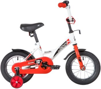 """140629 2 350x311 - Велосипед NOVATRACK 12"""" STRIKE белый-красный, тормоз нож,, корот,крылья, полная защита цепи, рама - 8,5"""""""