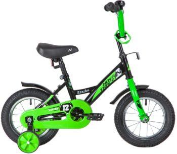 """140630 2 350x306 - Велосипед NOVATRACK 12"""" STRIKE чёрный-зелёный, тормоз нож,, корот,крылья, полная защита цепи, рама - 8,5"""""""