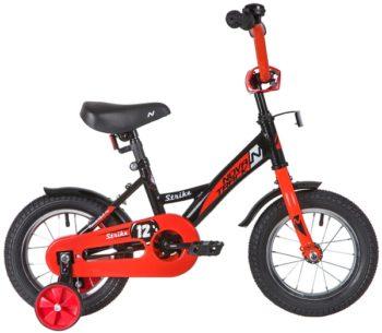 """140631 2 350x305 - Велосипед NOVATRACK 12"""" STRIKE чёрный-красный, тормоз нож, ,корот,крылья, полная защита цепи, рама - 8,5"""""""