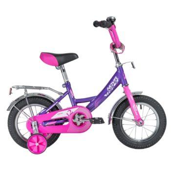 """140643 2 350x350 - Велосипед NOVATRACK 12"""" VECTOR лиловый, тормоз нож,, крылья и багажник хром,, полная защита цепи, рама - 8,5"""""""