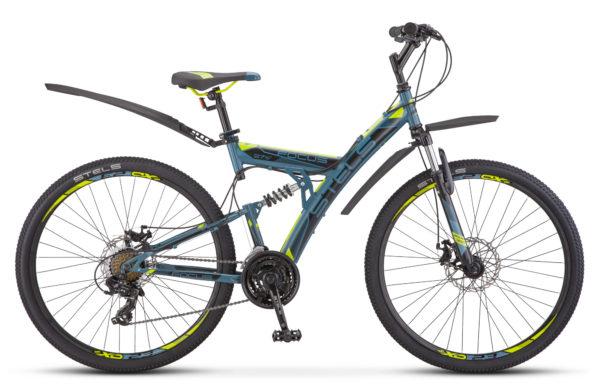 """Focus MD 27.5 21 sp V010 black green 600x390 - Велосипед Стелс (Stels) Focus MD 27.5"""" 21-sp V010 , р 19"""", цвет  Серый/жёлтый"""