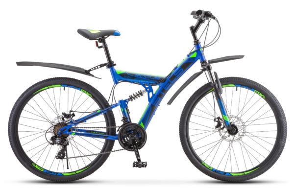 "Focus MD 27.5 21 sp V010 blue neon green 600x390 - Велосипед Стелс (Stels) Focus MD 27.5"" 21-sp V010 , р 19"", цвет Синий"