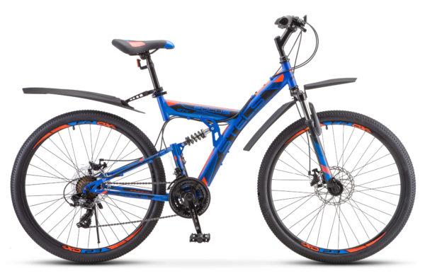 """Focus MD 27.5 21 sp V010 blue neon red 600x390 - Велосипед Стелс (Stels) Focus MD 27.5"""" 21-sp V010 , р 19"""", цвет Синий/неоновый_красный"""