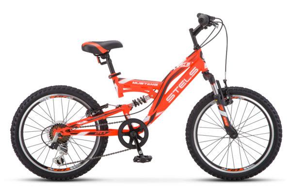 "Mustang V 20 V010 red black white 600x390 - Велосипед Стелс (Stels) Mustang V 20"" V010, Сталь , р13"", цвет Оранжевый"