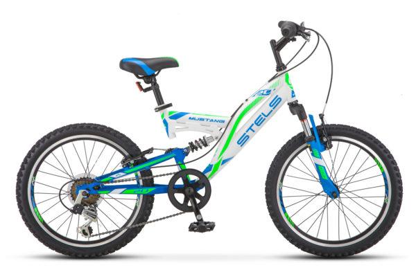 "Mustang V 20 V010 white green blue 600x390 - Велосипед Стелс (Stels) Mustang V 20"" V010, Сталь , р13"", цвет Белый"