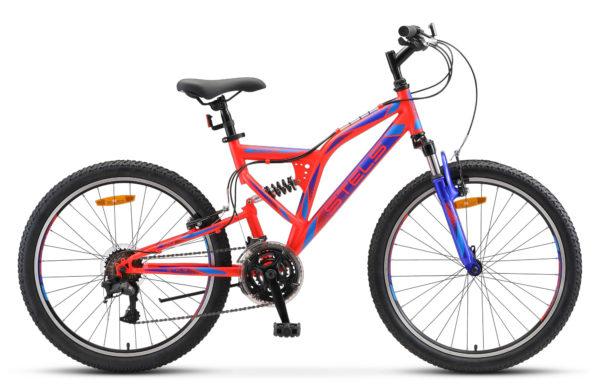"""Mustang V 24 V020 neon red blue matt 600x390 - Велосипед Стелс (Stels) Mustang V 24"""" V020, Сталь , р16"""", цвет  Неоновый-красный"""