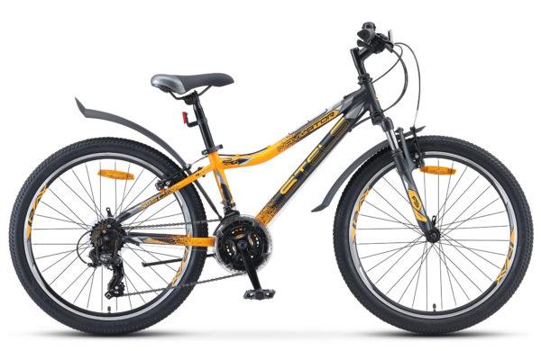 """Navigator 410 V 24 21 sp V010 black yellow matt 600x390 - Велосипед Стелс (Stels) Navigator-410 V 24"""" 21-sp V010, Сталь , р13"""", цвет Чёрный/жёлтый"""