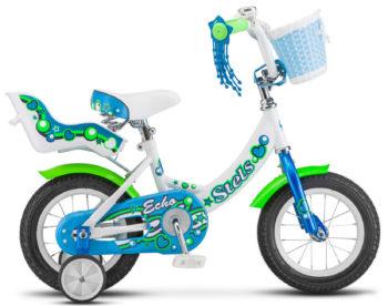 """esno 350x276 - Велосипед Стелс (Stels) ECHO 12"""" V020, Сталь , р 8"""", цвет   Белый-морская волна"""